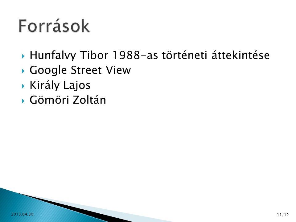  Hunfalvy Tibor 1988-as történeti áttekintése  Google Street View  Király Lajos  Gömöri Zoltán 2013.04.30. 11/12