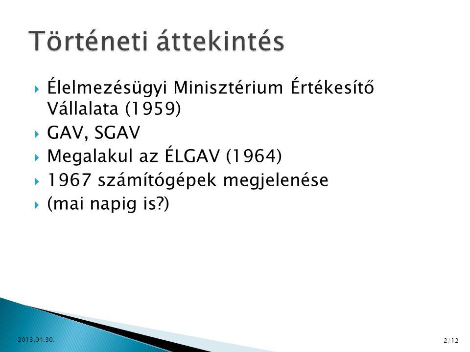  Élelmezésügyi Minisztérium Értékesítő Vállalata (1959)  GAV, SGAV  Megalakul az ÉLGAV (1964)  1967 számítógépek megjelenése  (mai napig is?) 201