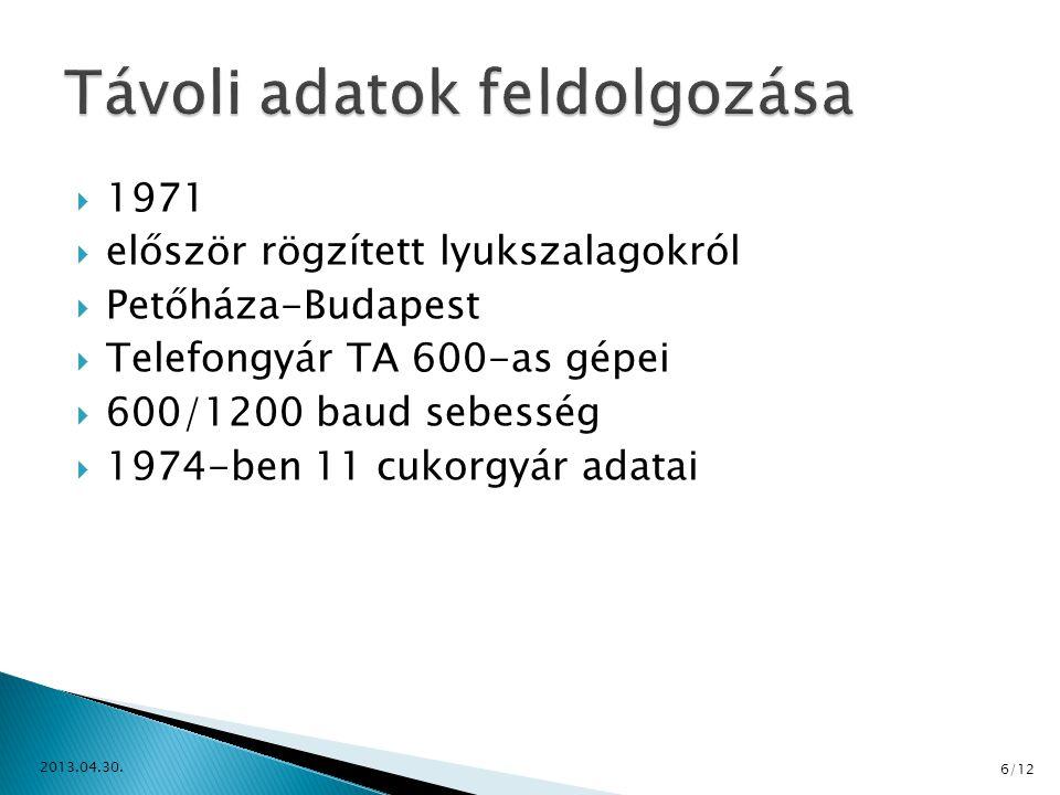 1971  először rögzített lyukszalagokról  Petőháza-Budapest  Telefongyár TA 600-as gépei  600/1200 baud sebesség  1974-ben 11 cukorgyár adatai 2