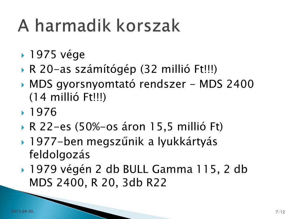  1975 vége  R 20-as számítógép (32 millió Ft!!!)  MDS gyorsnyomtató rendszer - MDS 2400 (14 millió Ft!!!)  1976  R 22-es (50%-os áron 15,5 millió
