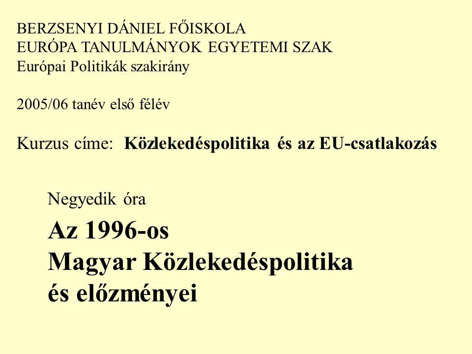 BERZSENYI DÁNIEL FŐISKOLA EURÓPA TANULMÁNYOK EGYETEMI SZAK Európai Politikák szakirány 2005/06 tanév első félév Kurzus címe: Közlekedéspolitika és az EU-csatlakozás Negyedik óra Az 1996-os Magyar Közlekedéspolitika és előzményei