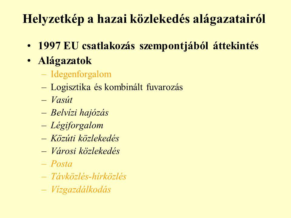 Helyzetkép a hazai közlekedés alágazatairól 1997 EU csatlakozás szempontjából áttekintés Alágazatok –Idegenforgalom –Logisztika és kombinált fuvarozás –Vasút –Belvízi hajózás –Légiforgalom –Közúti közlekedés –Városi közlekedés –Posta –Távközlés-hírközlés –Vízgazdálkodás