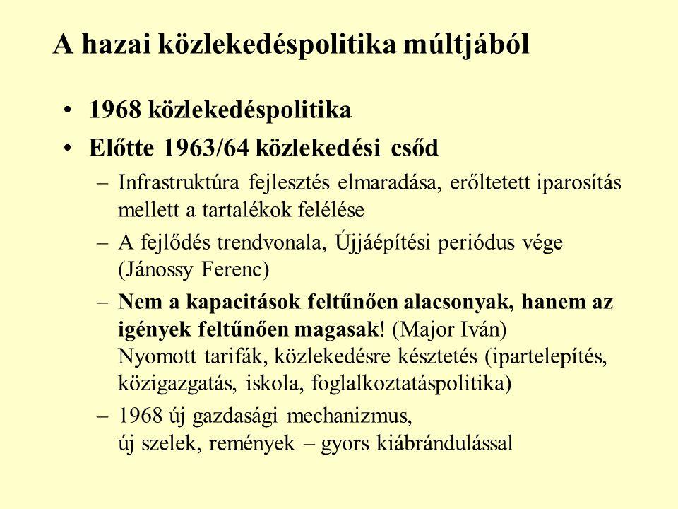 A hazai közlekedéspolitika múltjából 1968 közlekedéspolitika Előtte 1963/64 közlekedési csőd –Infrastruktúra fejlesztés elmaradása, erőltetett iparosítás mellett a tartalékok felélése –A fejlődés trendvonala, Újjáépítési periódus vége (Jánossy Ferenc) –Nem a kapacitások feltűnően alacsonyak, hanem az igények feltűnően magasak.