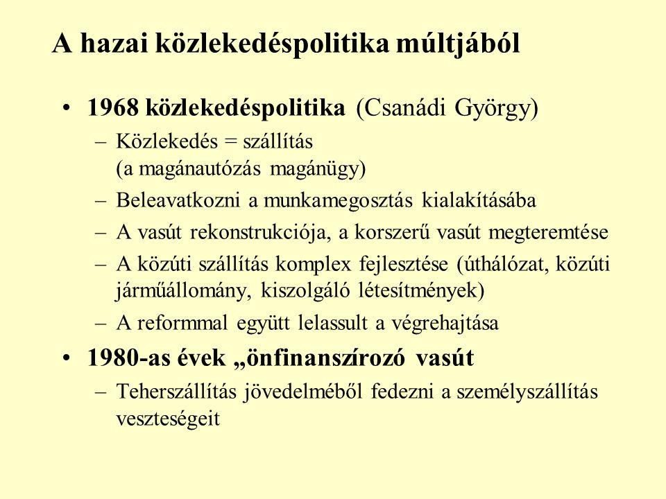 """A hazai közlekedéspolitika múltjából 1968 közlekedéspolitika (Csanádi György) –Közlekedés = szállítás (a magánautózás magánügy) –Beleavatkozni a munkamegosztás kialakításába –A vasút rekonstrukciója, a korszerű vasút megteremtése –A közúti szállítás komplex fejlesztése (úthálózat, közúti járműállomány, kiszolgáló létesítmények) –A reformmal együtt lelassult a végrehajtása 1980-as évek """"önfinanszírozó vasút –Teherszállítás jövedelméből fedezni a személyszállítás veszteségeit"""