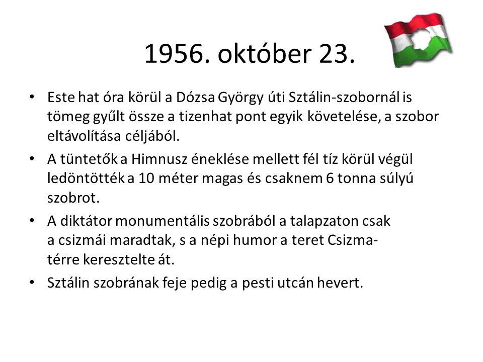 23-án este a forradalmárok megostromolták a Magyar Rádió épületét, és október 24-én megkezdődött a fegyveres felkelés.