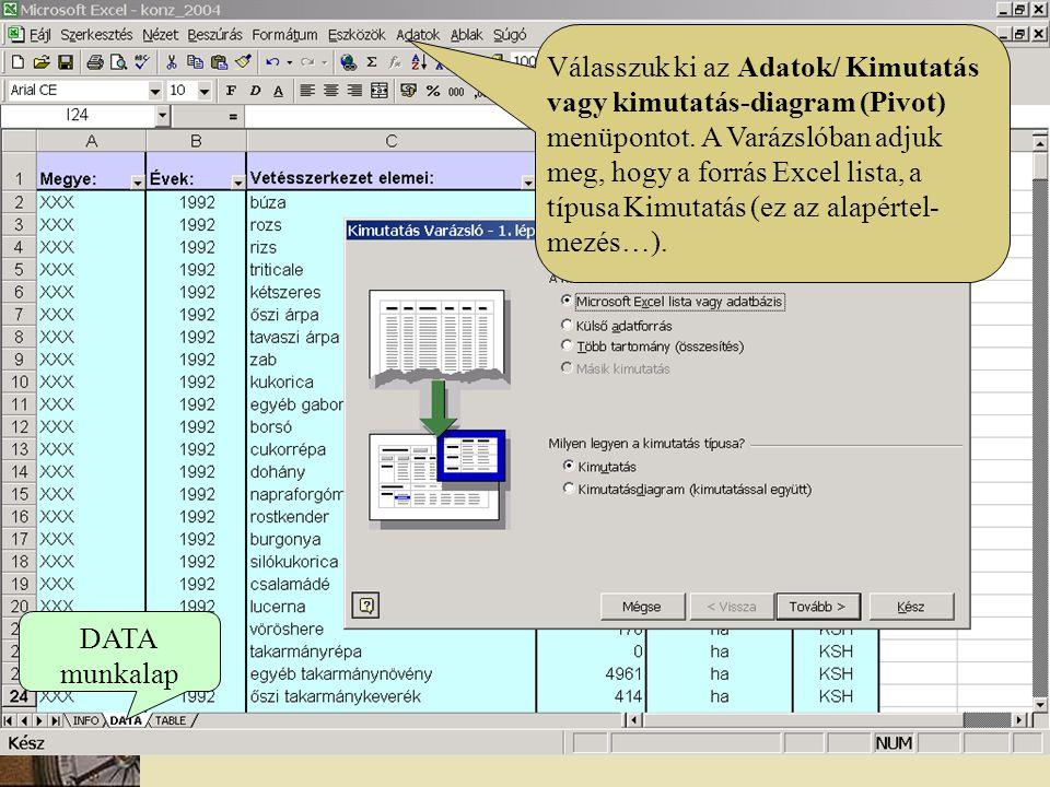 DATA munkalap Válasszuk ki az Adatok/ Kimutatás vagy kimutatás-diagram (Pivot) menüpontot. A Varázslóban adjuk meg, hogy a forrás Excel lista, a típus