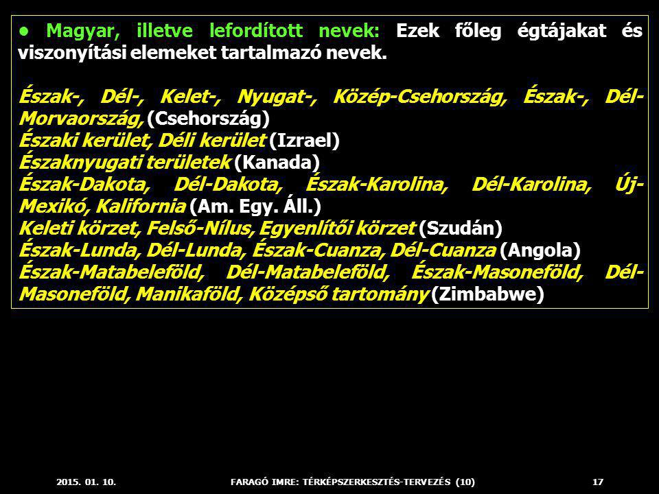 2015. 01. 10.FARAGÓ IMRE: TÉRKÉPSZERKESZTÉS-TERVEZÉS (10)17 Magyar, illetve lefordított nevek: Ezek főleg égtájakat és viszonyítási elemeket tartalmaz