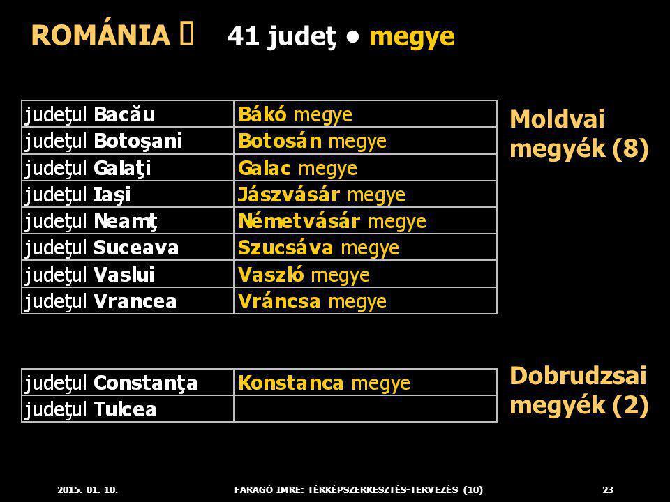 2015. 01. 10.FARAGÓ IMRE: TÉRKÉPSZERKESZTÉS-TERVEZÉS (10)23 Moldvai megyék (8) ROMÁNIA ő 41 judeţ megye Dobrudzsai megyék (2)