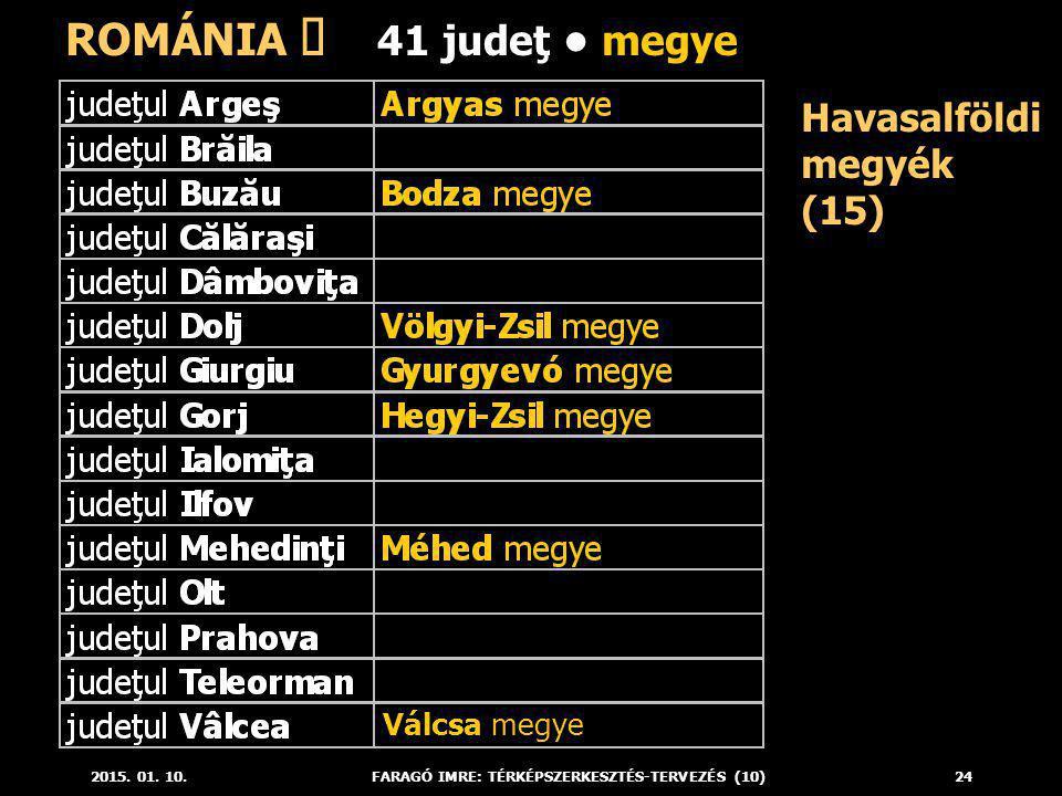 2015. 01. 10.FARAGÓ IMRE: TÉRKÉPSZERKESZTÉS-TERVEZÉS (10)24 Havasalföldi megyék (15) ROMÁNIA ő 41 judeţ megye Válcsa megye