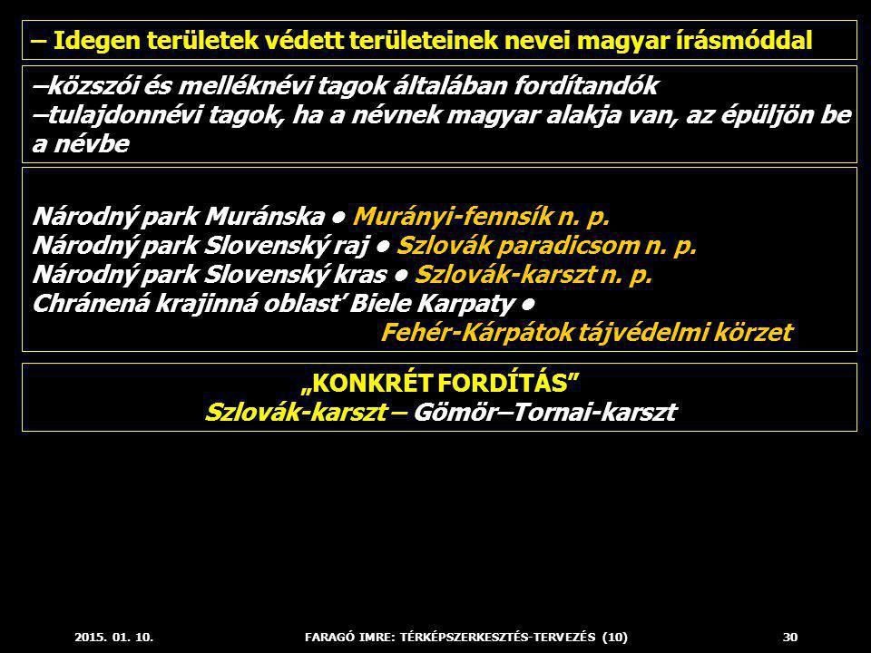 2015. 01. 10.FARAGÓ IMRE: TÉRKÉPSZERKESZTÉS-TERVEZÉS (10)30 – Idegen területek védett területeinek nevei magyar írásmóddal –közszói és melléknévi tago