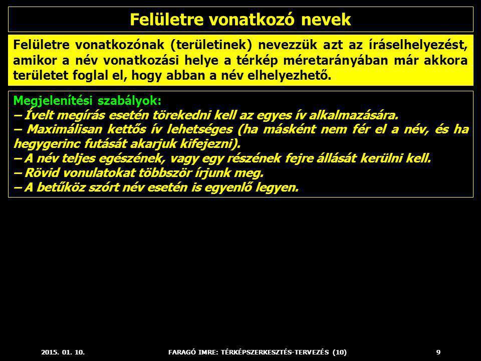 2015. 01. 10.FARAGÓ IMRE: TÉRKÉPSZERKESZTÉS-TERVEZÉS (10)9 Megjelenítési szabályok: – Ívelt megírás esetén törekedni kell az egyes ív alkalmazására. –