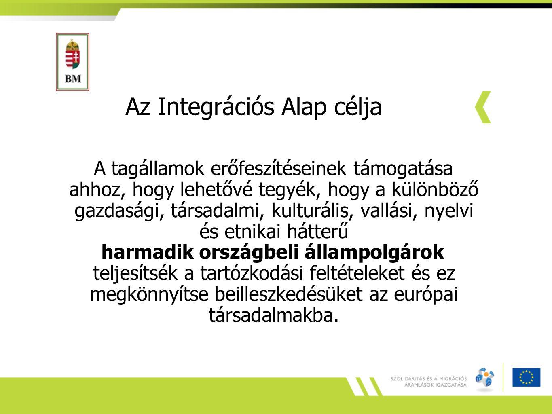 Az Integrációs Alap célja A tagállamok erőfeszítéseinek támogatása ahhoz, hogy lehetővé tegyék, hogy a különböző gazdasági, társadalmi, kulturális, vallási, nyelvi és etnikai hátterű harmadik országbeli állampolgárok teljesítsék a tartózkodási feltételeket és ez megkönnyítse beilleszkedésüket az európai társadalmakba.