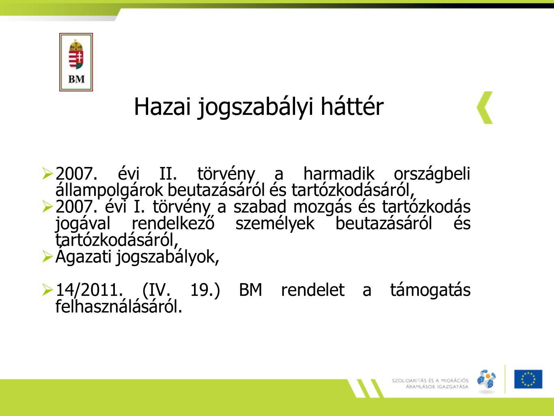 Hazai jogszabályi háttér  2007. évi II.