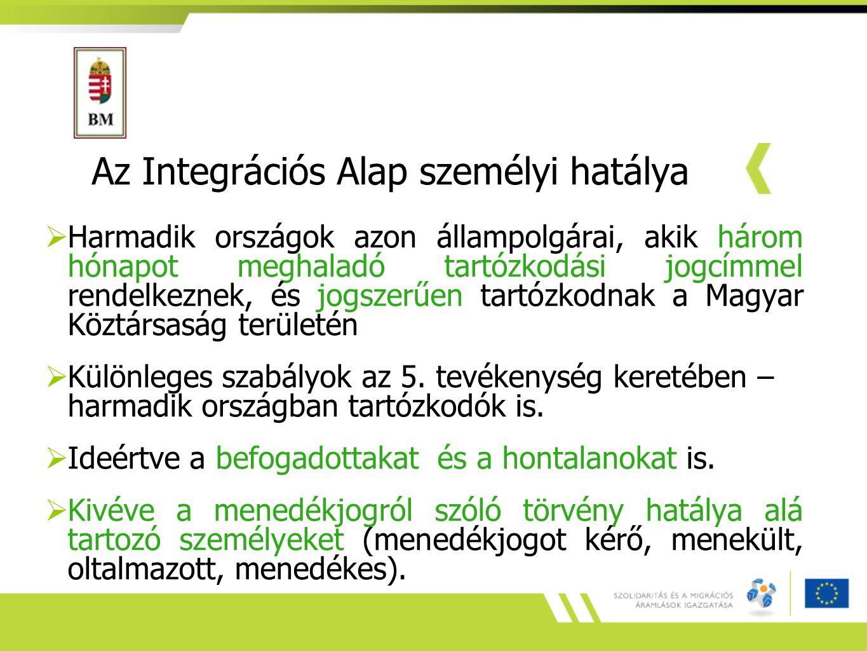 Az Integrációs Alap személyi hatálya  Harmadik országok azon állampolgárai, akik három hónapot meghaladó tartózkodási jogcímmel rendelkeznek, és jogszerűen tartózkodnak a Magyar Köztársaság területén  Különleges szabályok az 5.