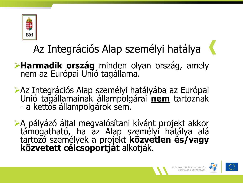 Az Integrációs Alap személyi hatálya  Harmadik ország minden olyan ország, amely nem az Európai Unió tagállama.