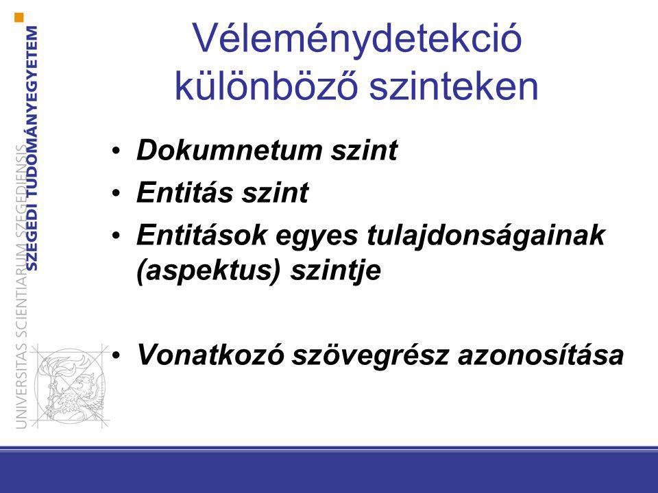 Véleménydetekció különböző szinteken Dokumnetum szint Entitás szint Entitások egyes tulajdonságainak (aspektus) szintje Vonatkozó szövegrész azonosítása