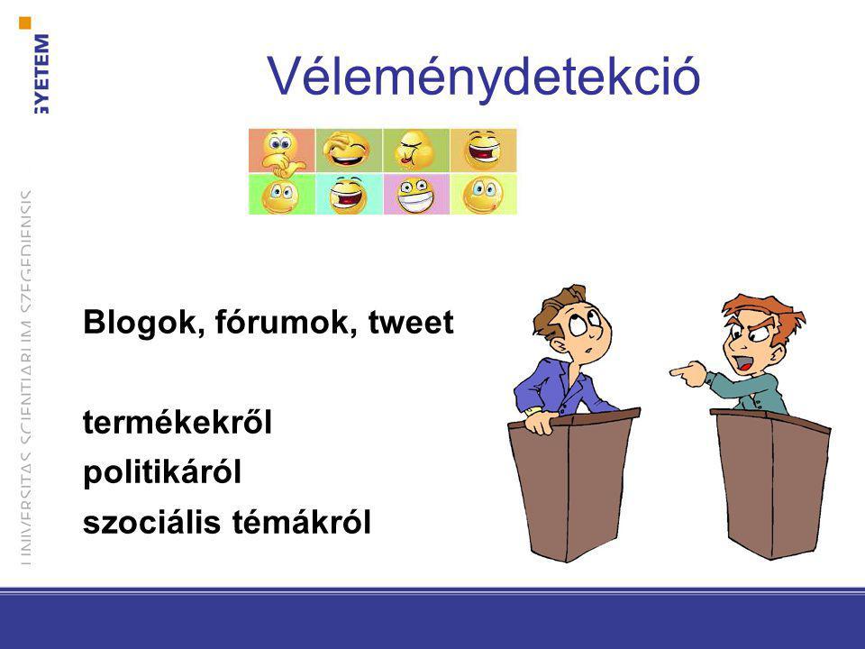 Blogok, fórumok, tweet termékekről politikáról szociális témákról Véleménydetekció