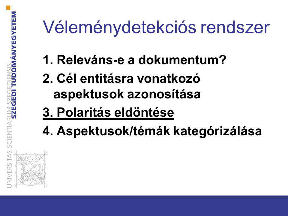 Véleménydetekciós rendszer 1. Releváns-e a dokumentum.