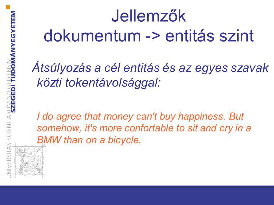 Jellemzők dokumentum -> entitás szint Átsúlyozás a cél entitás és az egyes szavak közti tokentávolsággal: I do agree that money can t buy happiness.