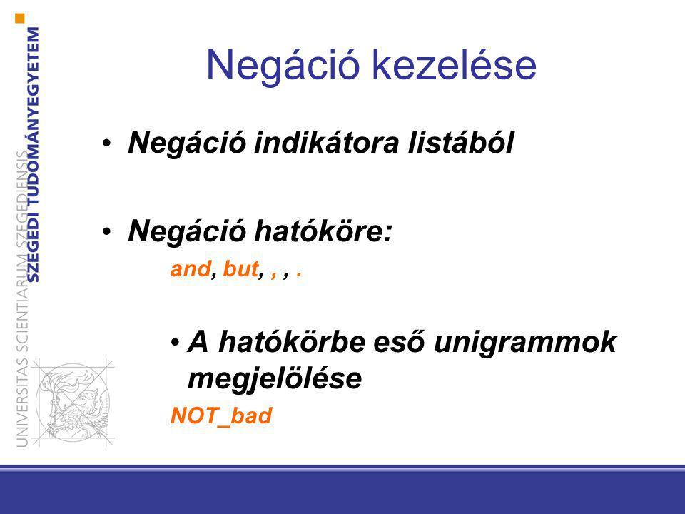 Negáció kezelése Negáció indikátora listából Negáció hatóköre: and, but,,,.