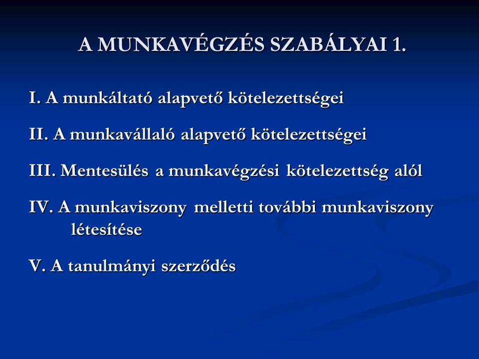 A MUNKAVÉGZÉS SZABÁLYAI 1. A MUNKAVÉGZÉS SZABÁLYAI 1. I. A munkáltató alapvető kötelezettségei II. A munkavállaló alapvető kötelezettségei III. Mentes