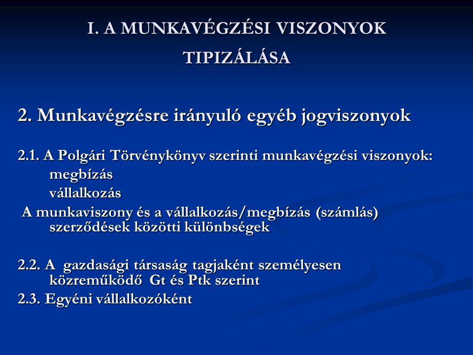 I. A MUNKAVÉGZÉSI VISZONYOK TIPIZÁLÁSA 2. Munkavégzésre irányuló egyéb jogviszonyok 2.1. A Polgári Törvénykönyv szerinti munkavégzési viszonyok: megbí