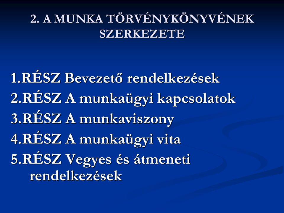 2. A MUNKA TÖRVÉNYKÖNYVÉNEK SZERKEZETE 1.RÉSZ Bevezető rendelkezések 2.RÉSZ A munkaügyi kapcsolatok 3.RÉSZ A munkaviszony 4.RÉSZ A munkaügyi vita 5.RÉ