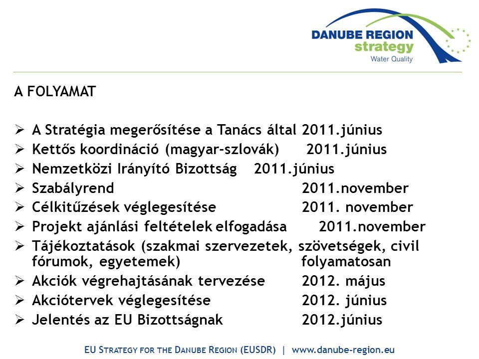 A FOLYAMAT  A Stratégia megerősítése a Tanács által2011.június  Kettős koordináció (magyar-szlovák) 2011.június  Nemzetközi Irányító Bizottság2011.június  Szabályrend2011.november  Célkitűzések véglegesítése2011.