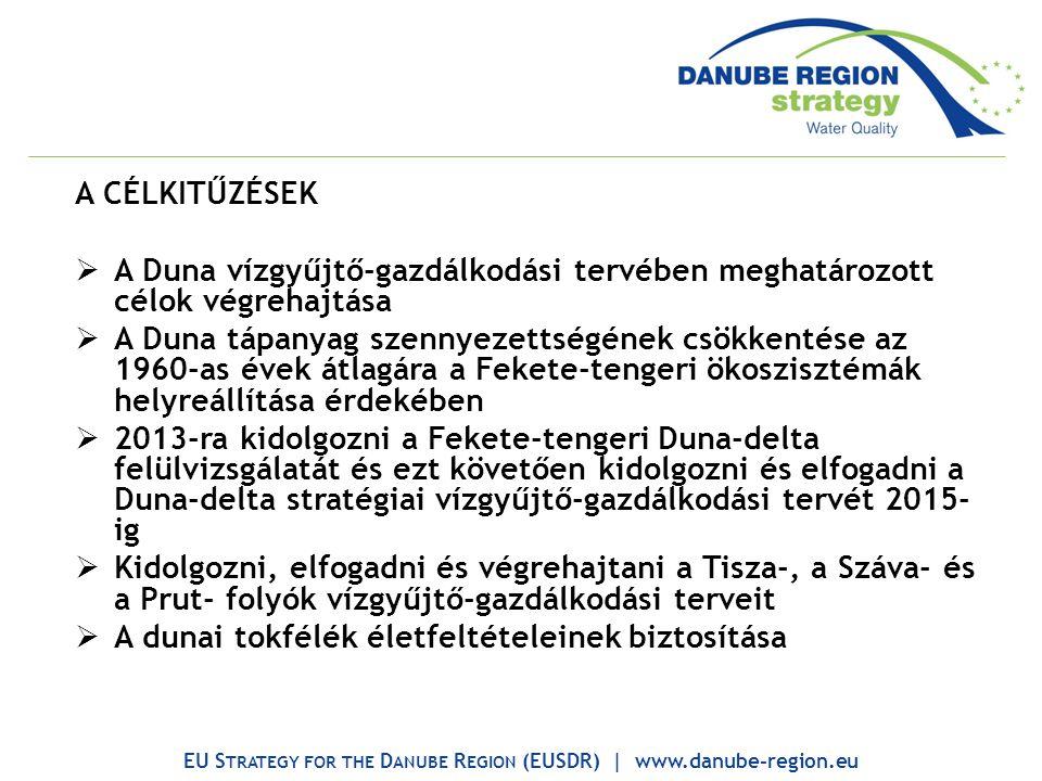 A CÉLKITŰZÉSEK  A Duna vízgyűjtő-gazdálkodási tervében meghatározott célok végrehajtása  A Duna tápanyag szennyezettségének csökkentése az 1960-as évek átlagára a Fekete-tengeri ökoszisztémák helyreállítása érdekében  2013-ra kidolgozni a Fekete-tengeri Duna-delta felülvizsgálatát és ezt követően kidolgozni és elfogadni a Duna-delta stratégiai vízgyűjtő-gazdálkodási tervét 2015- ig  Kidolgozni, elfogadni és végrehajtani a Tisza-, a Száva- és a Prut- folyók vízgyűjtő-gazdálkodási terveit  A dunai tokfélék életfeltételeinek biztosítása EU S TRATEGY FOR THE D ANUBE R EGION (EUSDR) | www.danube-region.eu