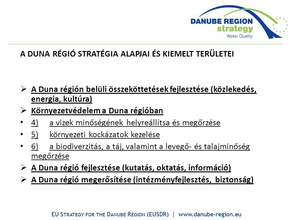 A DUNA RÉGIÓ STRATÉGIA ALAPJAI ÉS KIEMELT TERÜLETEI  A Duna régión belüli összeköttetések fejlesztése (közlekedés, energia, kultúra)  Környezetvédelem a Duna régióban 4)a vizek minőségének helyreállítsa és megőrzése 5)környezeti kockázatok kezelése 6)a biodiverzitás, a táj, valamint a levegő- és talajminőség megőrzése  A Duna régió fejlesztése (kutatás, oktatás, információ)  A Duna régió megerősítése (intézményfejlesztés, biztonság) EU S TRATEGY FOR THE D ANUBE R EGION (EUSDR) | www.danube-region.eu