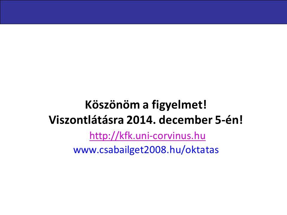 Köszönöm a figyelmet! Viszontlátásra 2014. december 5-én! http://kfk.uni-corvinus.hu www.csabailget2008.hu/oktatas http://kfk.uni-corvinus.hu