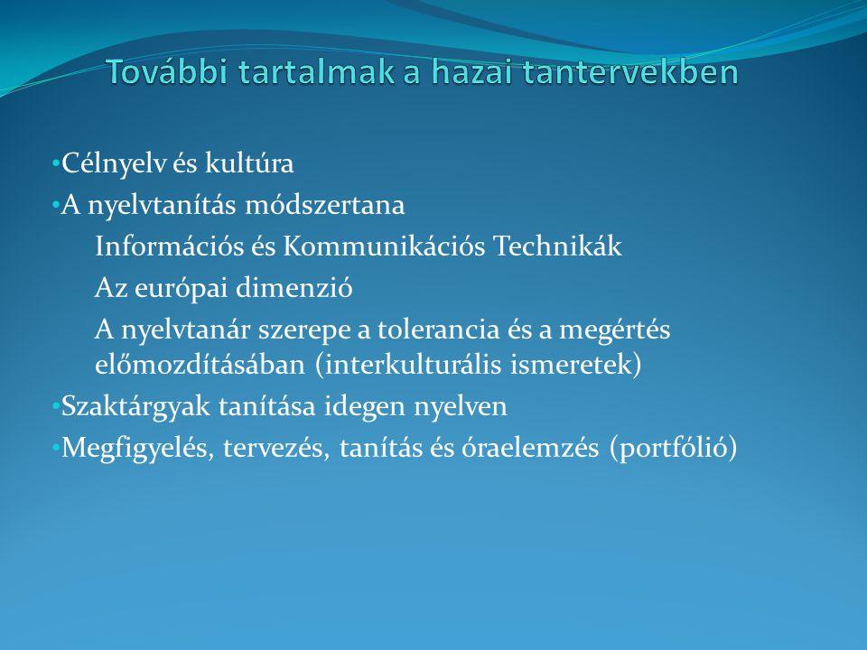 Célnyelv és kultúra A nyelvtanítás módszertana Információs és Kommunikációs Technikák Az európai dimenzió A nyelvtanár szerepe a tolerancia és a megér