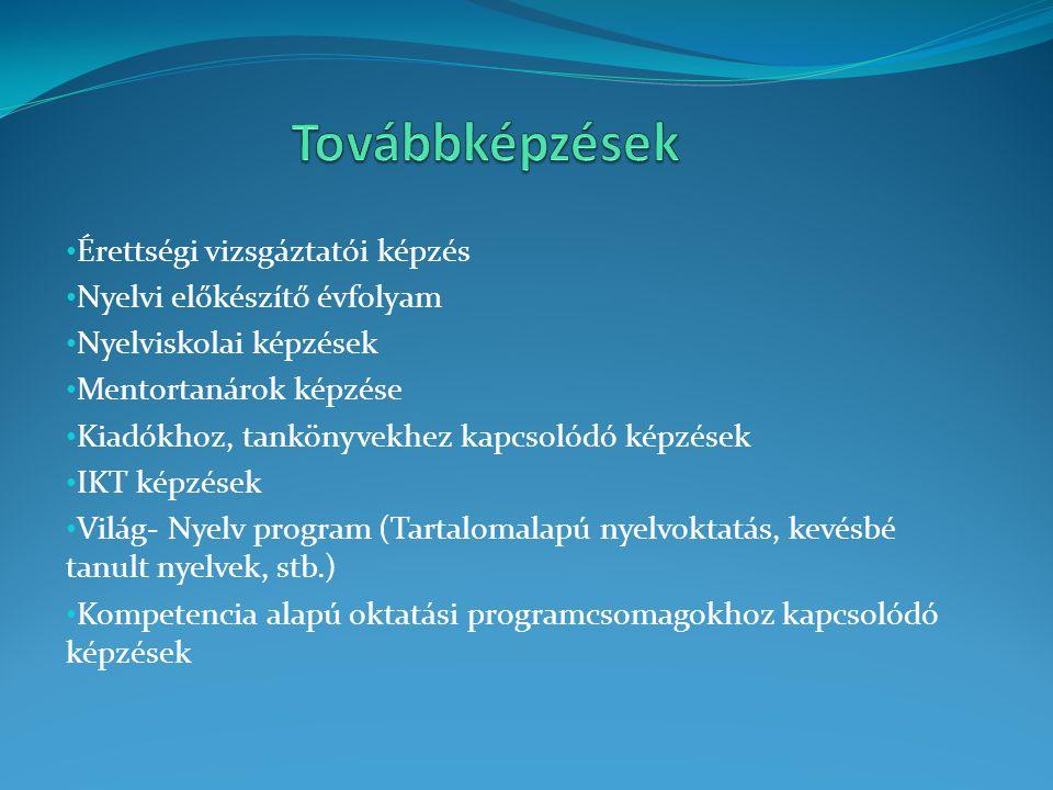 Érettségi vizsgáztatói képzés Nyelvi előkészítő évfolyam Nyelviskolai képzések Mentortanárok képzése Kiadókhoz, tankönyvekhez kapcsolódó képzések IKT