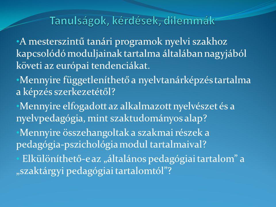 A mesterszintű tanári programok nyelvi szakhoz kapcsolódó moduljainak tartalma általában nagyjából követi az európai tendenciákat. Mennyire függetlení