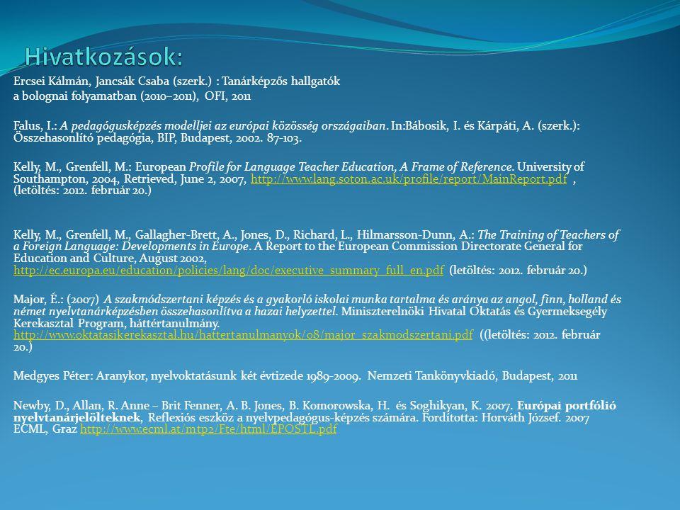 Ercsei Kálmán, Jancsák Csaba (szerk.) : Tanárképzős hallgatók a bolognai folyamatban (2010–2011), OFI, 2011 Falus, I.: A pedagógusképzés modelljei az
