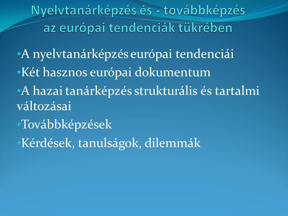 A nyelvtanárképzés európai tendenciái Két hasznos európai dokumentum A hazai tanárképzés strukturális és tartalmi változásai Továbbképzések Kérdések,