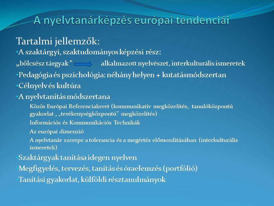 Célnyelv és kultúra A nyelvtanítás módszertana Információs és Kommunikációs Technikák Az európai dimenzió A nyelvtanár szerepe a tolerancia és a megértés előmozdításában (interkulturális ismeretek) Szaktárgyak tanítása idegen nyelven Megfigyelés, tervezés, tanítás és óraelemzés (portfólió)