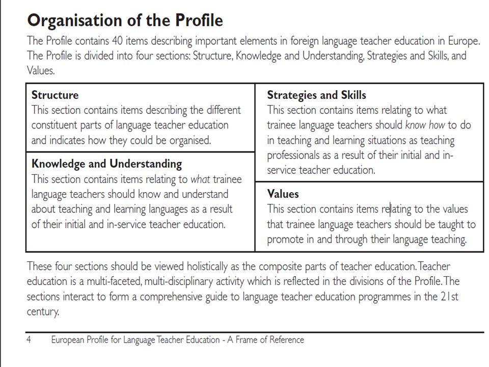A mesterszintű tanári programok nyelvi szakhoz kapcsolódó moduljainak tartalma általában nagyjából követi az európai tendenciákat.