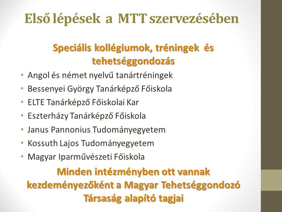 Speciális kollégiumok, tréningek és tehetséggondozás Angol és német nyelvű tanártréningek Bessenyei György Tanárképző Főiskola ELTE Tanárképző Főiskol