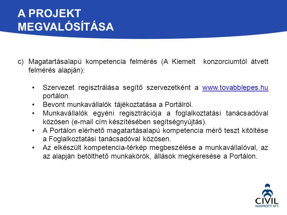 A PROJEKT MEGVALÓSÍTÁSA c)Magatartásalapú kompetencia felmérés (A Kiemelt konzorciumtól átvett felmérés alapján): Szervezet regisztrálása segítő szerv