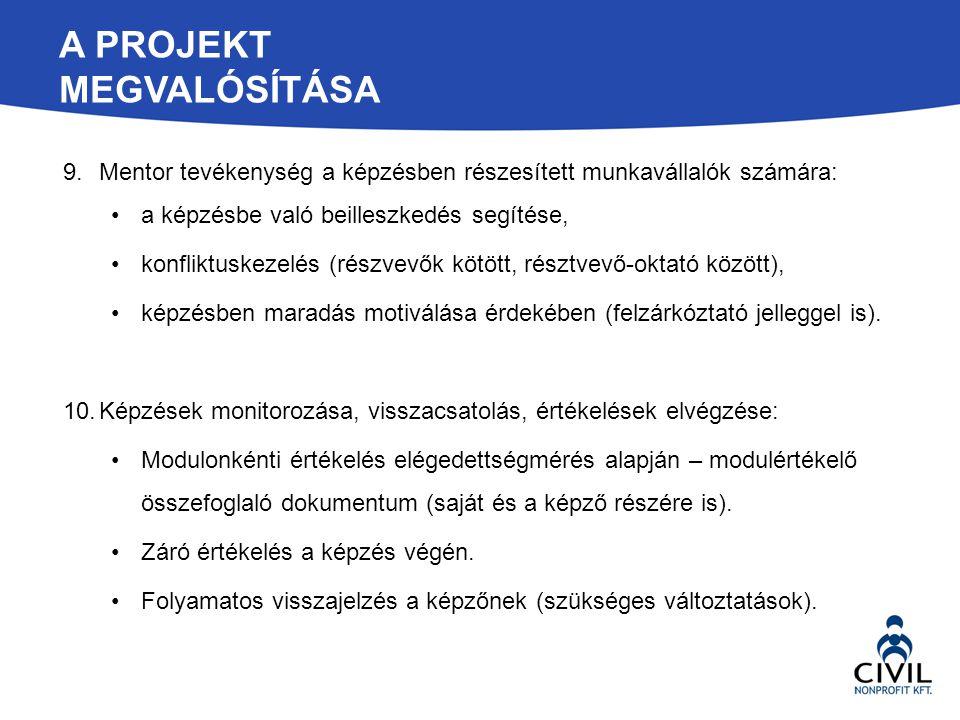 A PROJEKT MEGVALÓSÍTÁSA 9.Mentor tevékenység a képzésben részesített munkavállalók számára: a képzésbe való beilleszkedés segítése, konfliktuskezelés