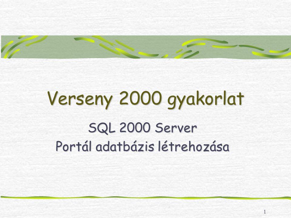 1 Verseny 2000 gyakorlat SQL 2000 Server Portál adatbázis létrehozása