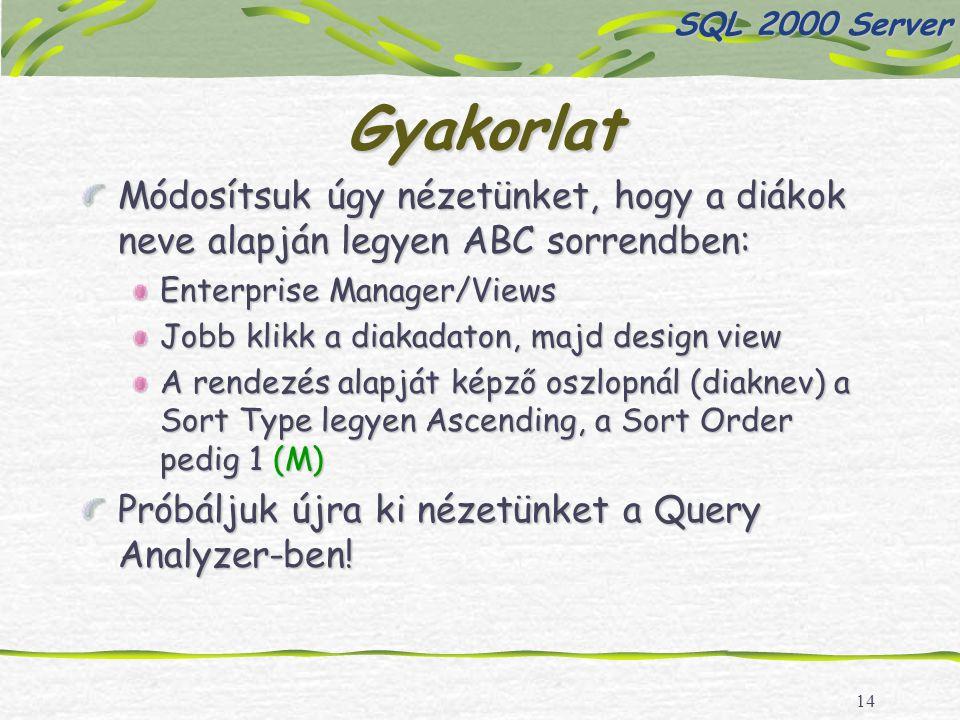 14 Gyakorlat Módosítsuk úgy nézetünket, hogy a diákok neve alapján legyen ABC sorrendben: Enterprise Manager/Views Jobb klikk a diakadaton, majd design view A rendezés alapját képző oszlopnál (diaknev) a Sort Type legyen Ascending, a Sort Order pedig 1 (M) Próbáljuk újra ki nézetünket a Query Analyzer-ben.