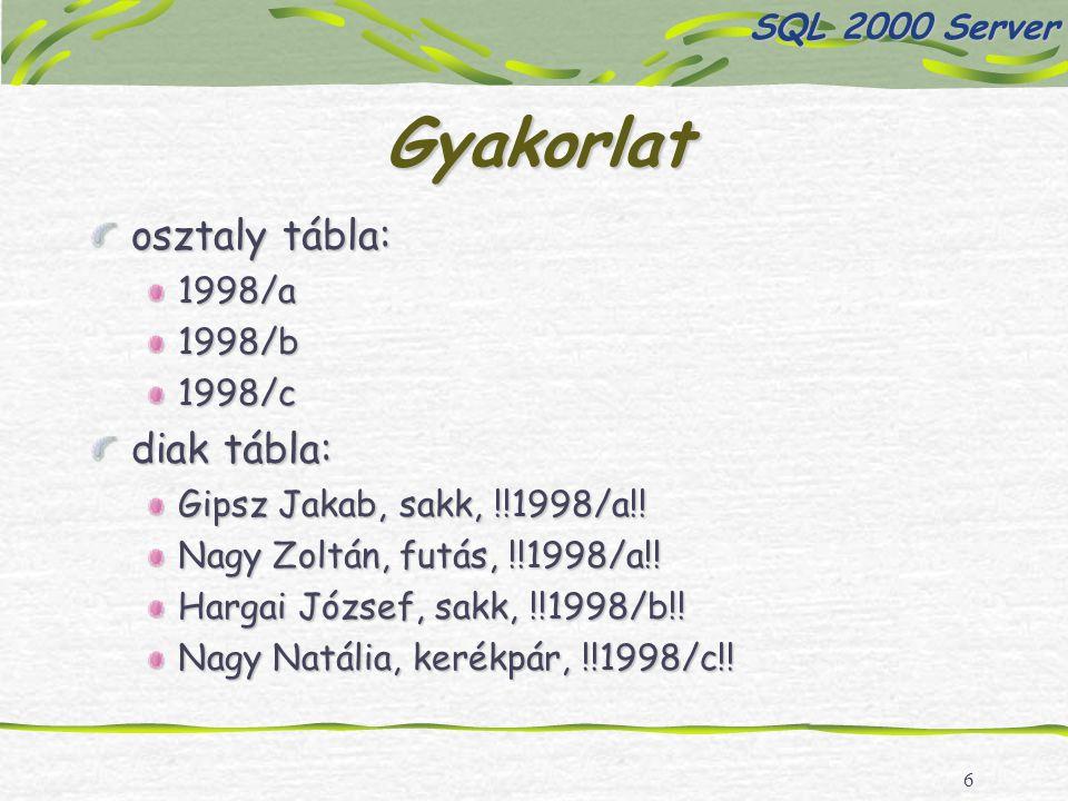 6 Gyakorlat osztaly tábla: 1998/a1998/b1998/c diak tábla: Gipsz Jakab, sakk, !!1998/a!.