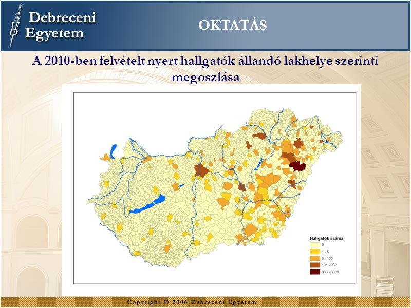 A 2010-ben felvételt nyert hallgatók állandó lakhelye szerinti megoszlása