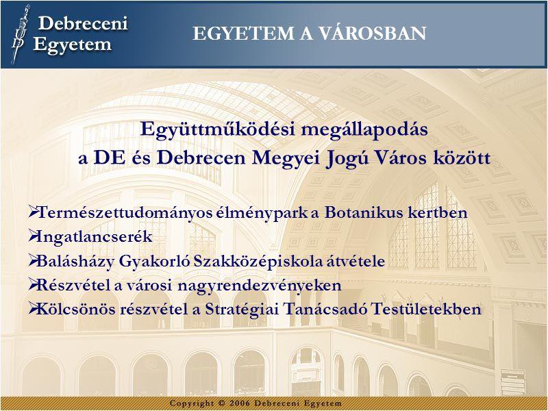 EGYETEM A VÁROSBAN Együttműködési megállapodás a DE és Debrecen Megyei Jogú Város között  Természettudományos élménypark a Botanikus kertben  Ingatl