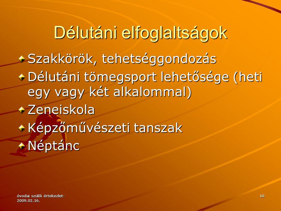 óvodai szülői értekezlet- 2009.02.16.