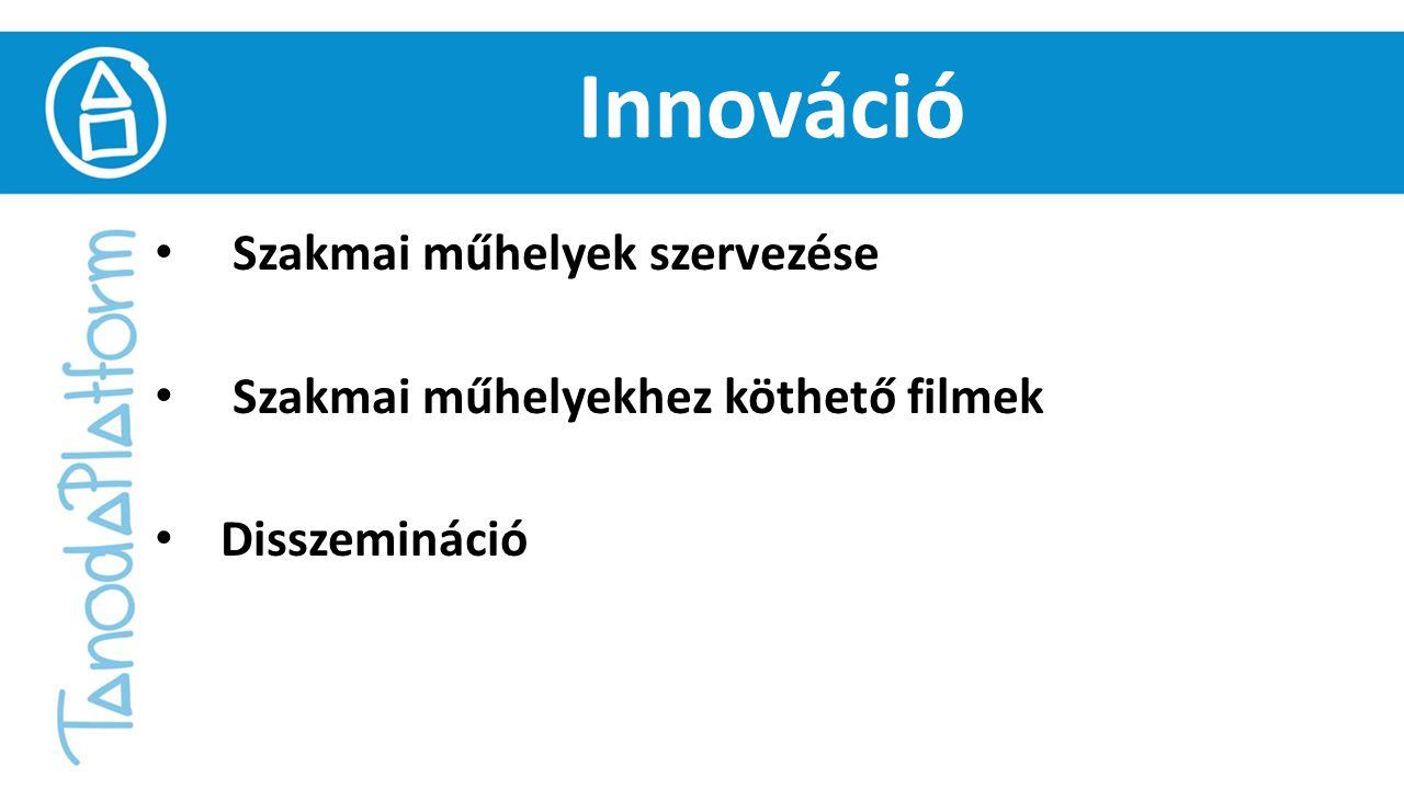 Innováció Szakmai műhelyek szervezése Szakmai műhelyekhez köthető filmek Disszemináció