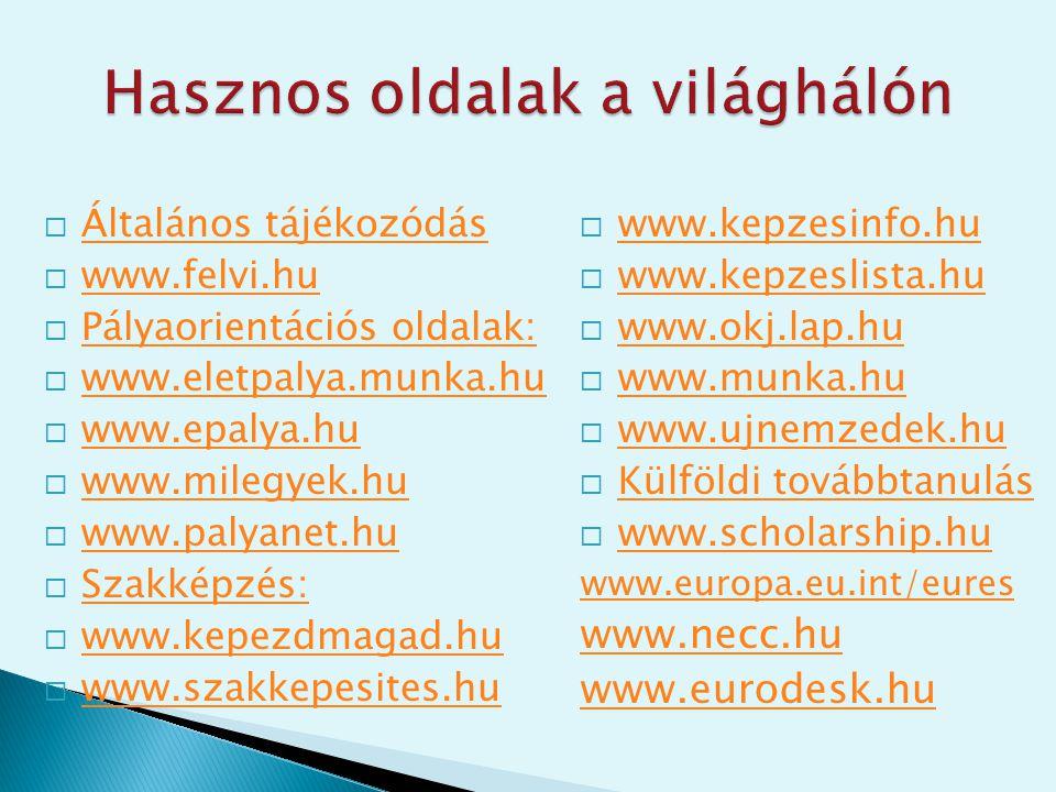  Általános tájékozódás Általános tájékozódás  www.felvi.hu www.felvi.hu  Pályaorientációs oldalak: Pályaorientációs oldalak:  www.eletpalya.munka.hu www.eletpalya.munka.hu  www.epalya.hu www.epalya.hu  www.milegyek.hu www.milegyek.hu  www.palyanet.hu www.palyanet.hu  Szakképzés: Szakképzés:  www.kepezdmagad.hu www.kepezdmagad.hu  www.szakkepesites.hu www.szakkepesites.hu  www.kepzesinfo.hu www.kepzesinfo.hu  www.kepzeslista.hu www.kepzeslista.hu  www.okj.lap.hu www.okj.lap.hu  www.munka.hu www.munka.hu  www.ujnemzedek.hu www.ujnemzedek.hu  Külföldi továbbtanulás Külföldi továbbtanulás  www.scholarship.hu www.scholarship.hu www.europa.eu.int/eures www.necc.hu www.eurodesk.hu