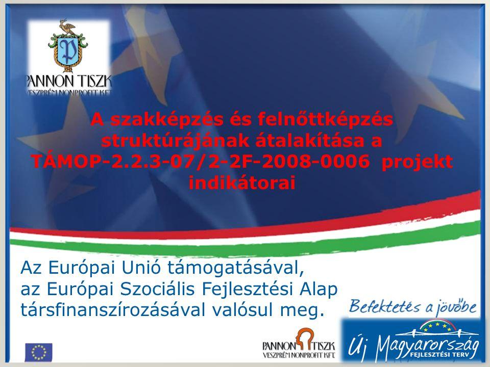 A szakképzés és felnőttképzés struktúrájának átalakítása a TÁMOP-2.2.3-07/2-2F-2008-0006 projekt indikátorai Az Európai Unió támogatásával, az Európai Szociális Fejlesztési Alap társfinanszírozásával valósul meg.